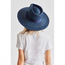 Joanna Navy Blue Wheat Straw Fedora Hat alternate view 4