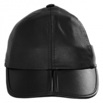 Split Bill Earflap Black Leather Ball Cap alternate view 2