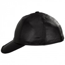 Split Bill Earflap Black Leather Ball Cap alternate view 3