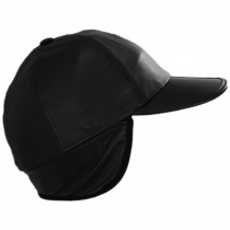 Split Bill Earflap Black Leather Ball Cap alternate view 4