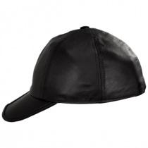Split Bill Earflap Black Leather Ball Cap alternate view 13