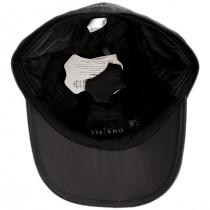 Split Bill Earflap Black Leather Ball Cap alternate view 15