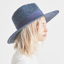 Joanna Light Blue Wheat Straw Fedora Hat alternate view 6