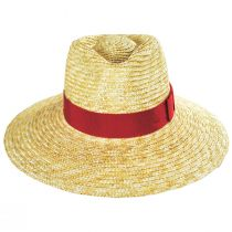 Joanna Natural/Red Wheat Straw Fedora Hat alternate view 2