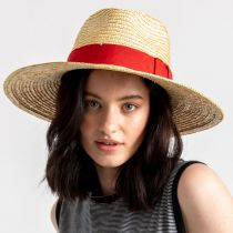 Joanna Natural/Red Wheat Straw Fedora Hat alternate view 5