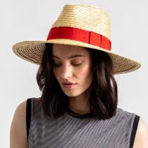 Joanna Natural/Red Wheat Straw Fedora Hat alternate view 6