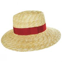 Joanna Natural/Red Wheat Straw Fedora Hat alternate view 9