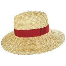Joanna Natural/Red Wheat Straw Fedora Hat alternate view 3