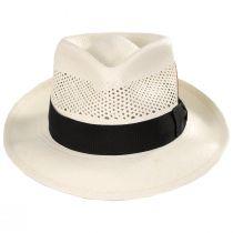 Vented Crown Panama Straw Fedora Hat alternate view 2