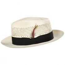 Vented Crown Panama Straw Fedora Hat alternate view 3
