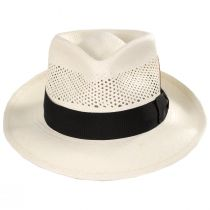 Vented Crown Panama Straw Fedora Hat alternate view 10