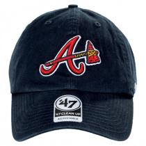 Atlanta Braves MLB Clean Up Strapback Baseball Cap Dad Hat alternate view 2
