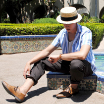 Black Band Wheat Straw Skimmer Hat alternate view 16