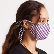 Antimicrobial Adjustable Ear Ties Gingham Cotton Face Cover alternate view 7