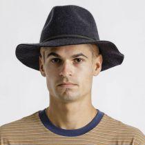Wesley Black Heather Felt Fedora Hat alternate view 5