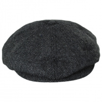Brood Herringbone Wool Blend Newsboy Cap - Gray/Black alternate view 2