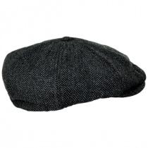 Brood Herringbone Wool Blend Newsboy Cap - Gray/Black alternate view 3