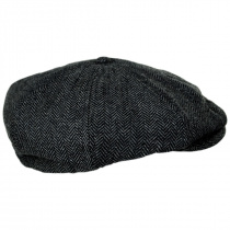 Brood Herringbone Wool Blend Newsboy Cap - Gray/Black alternate view 7