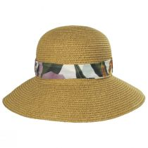 Toyo Straw Sun Hat with Print and Solid Scarves alternate view 2