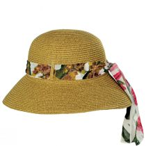 Toyo Straw Sun Hat with Print and Solid Scarves alternate view 3