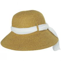 Toyo Straw Sun Hat with Print and Solid Scarves alternate view 4