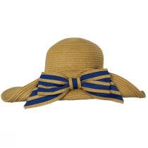 Striped Bow Off Face Toyo Straw Sun Hat alternate view 3