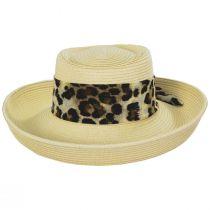Movone Leopard Scarf Toyo Straw Blend Gambler Hat alternate view 2