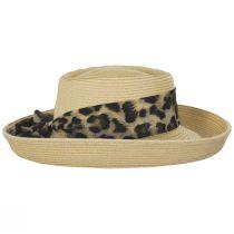 Movone Leopard Scarf Toyo Straw Blend Gambler Hat alternate view 3