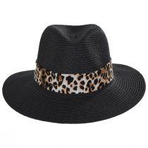 Gabon Leopard Scarf Toyo Straw Fedora Hat alternate view 2