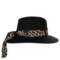 Gabon Leopard Scarf Toyo Straw Fedora Hat alternate view 3