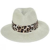 Gabon Leopard Scarf Toyo Straw Fedora Hat alternate view 6