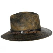 Vagabond Distressed Panama Straw Safari Fedora Hat alternate view 15