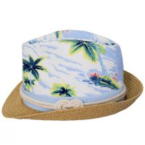 Toddlers' Tropical Crown Cotton Toyo Straw Blend Fedora Hat alternate view 3