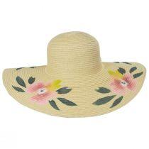 Handpainted Floral Brim Toyo Straw Floppy Sun Hat alternate view 2