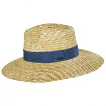 Joanna Tan/Blue Wheat Straw Fedora Hat alternate view 3