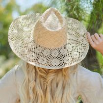Floral Brim Raffia Straw Fedora Hat alternate view 6
