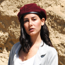 Wool Military Beret with Lambskin Band alternate view 48