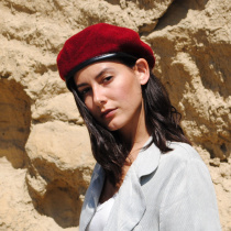 Wool Military Beret with Lambskin Band alternate view 135