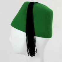Green Wool Fez with Black Tassel alternate view 3