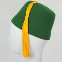Green Wool Fez with Gold Tassel alternate view 3