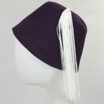 Purple Wool Fez with White Tassel alternate view 3