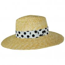Joanna Polka Dot Wheat Straw Fedora Hat alternate view 3