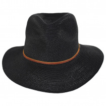 Wesley Black/Brown Braided Toyo Straw Fedora Hat alternate view 10