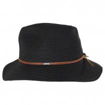 Wesley Black/Brown Braided Toyo Straw Fedora Hat alternate view 15