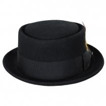 Crushable Black Wool Felt Pork Pie Hat alternate view 2