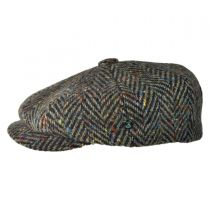 Large Herringbone Donegal Tweed Wool Newsboy Cap - Brown