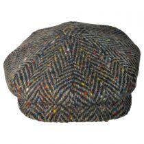 Large Herringbone Donegal Tweed Wool Newsboy Cap - Brown alternate view 6