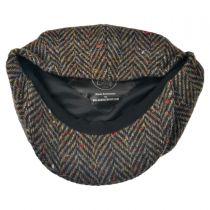Large Herringbone Donegal Tweed Wool Newsboy Cap - Brown alternate view 8