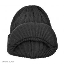 Cable Knit Visor Beanie Hat in