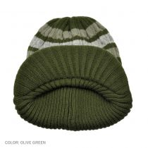 Striped Cable Knit Visor Beanie Hat in